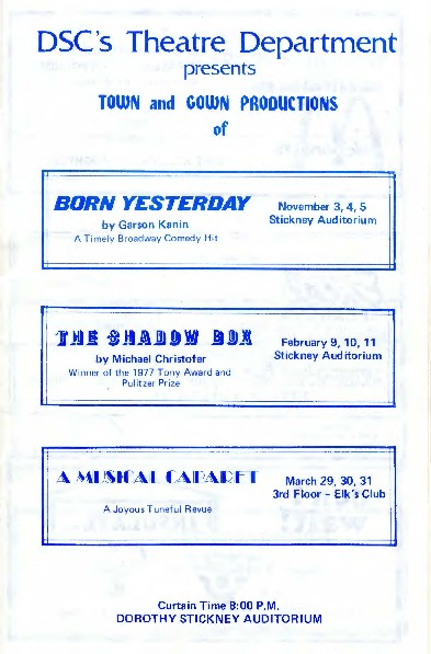 1970-1971 One Act plays,Town and Gown Productions - PROGRAM.pdf